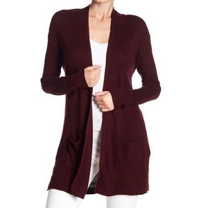 Philosophy Ribbed Open Patch Pocket Long Cardigan